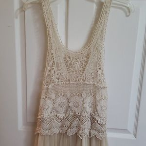 Love Culture Crochet Satin Mesh Dress (Ivory)